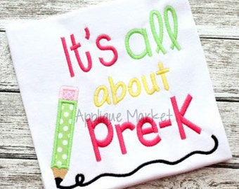 Machine Embroidery Design Applique All About Pre-K INSTANT DOWNLOAD