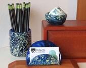 Blue Blown Glass Desk Set...