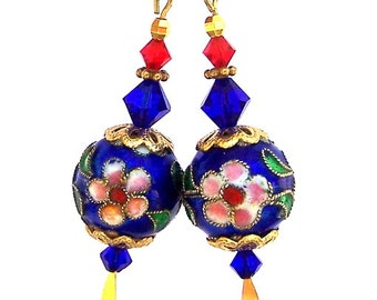 Cobalt blue Cloisonne earrings, red, blue and gold cloissone enamel, Parisian Beauty