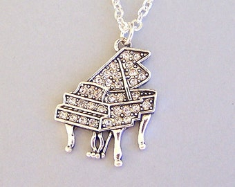 Crystal piano necklace, antiqued silver rhinestone piano pendant, love music statement necklace, piano player, pianist, baby grand piano