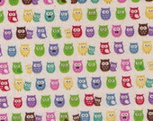 HALF YARD - Ultra Mini Owls on Natural - Kokka -Babies and Mama, Bowtie, Family,  - Japanese Imported Fabric