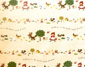 Japanese Fabric Kokka Trefle Little Red Riding Hood - green and red on natural - OOP -12x42 inches