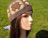 SOFT SQUARES  pure wool irish granny  original crochet beanie hat shades of brown and cream
