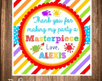 Art Party, Printable Painting Party Tags, Painting Art Craft Party Party Favor Tags, Printable and Personalized Tags