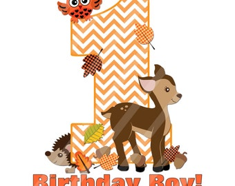 Woodland Birthday Digital Sheet for Iron Ons, Heat Transfers, Scrapbooking, Framing, T-shirts, Totes