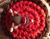 Measuring Tape /  Retractable / Crocheted covering / Sock Monkey