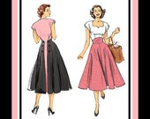 1952-BACK WRAP DRESS-Sewing Pattern-Two Styles-Sweetheart Neckline-Shaped Midriff-Back Button or Tie Closure-Twirl Skirt-Uncut-Size 6-14