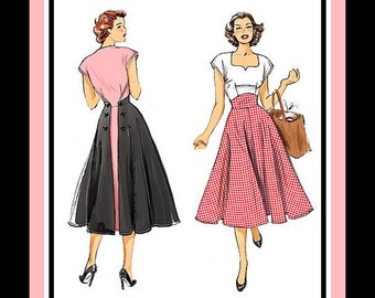 1952-BACK WRAP DRESS-Sewing Pattern-Two Styles-Sweetheart Neckline-Shaped Midriff-Back Button or Tie Closure-Twirl Skirt-Uncut-Size 14-22