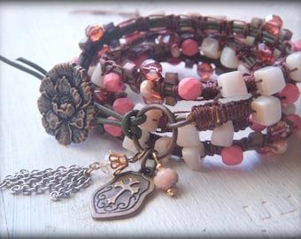 4 wrap leather Beaded Macrame Charm Bracelet Rose and Blush Pink Romantic Shell