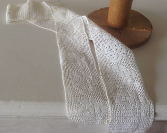 Vintage White Filet Crochet Trim Pieces, Oak Leaf Pattern, 2 pieces 25 inches long