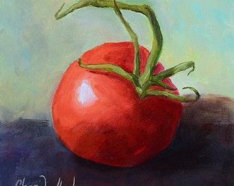 One Red Tomato, 6x6 Kitchen Still Life, Original Oil Painting by Cheri Wollenberg