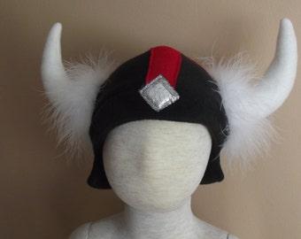 Viking fleece hat, size S, for Halloween, dress up or winter wear
