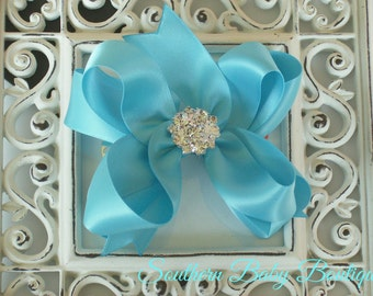 NEW ITEM----Mini Boutique Doubled Layered Hair Bow Clip with RHINESTONES-----Turquoise Satin---