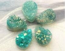 Aqua Druzy Quartz Bead , Drusy Teardrop, Pendant, Drop, Earrings, Hole Top Drilled for Pendant,15-16mm, Select your quantity