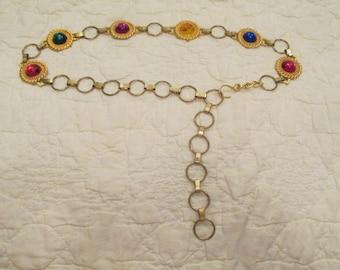 Vintage Chain Belt with multi color links SALE