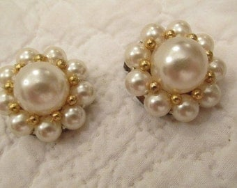 Vintage Earrings faux pearls and gold clip ons SALE