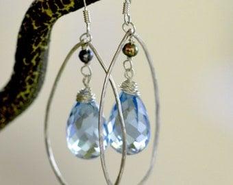 Sky Blue Topaz Earrings. Sterling Silver Genuine Swiss Topaz Teardrops Earrings. Hand Forged Earrings.  Fine Luxury Jewelry.