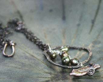 Black Pearl Necklace. Oxidized Silver Necklace. ANDROMEDA. Gemstone Necklace. Hand Forged.  Keishi Black - Green Fresh Water Pearls.