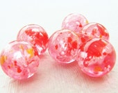 Vintage Lucite 15mm Round Pink Confetti Beads (10)