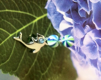 Silver Dolphin, Navel Ring, Beach Ball, Blue, Green, White
