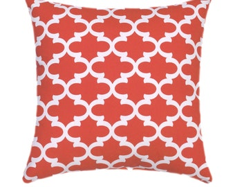 Coral Throw Pillow, Premier Prints Fulton Coral and White Moroccan Quatrefoil STUFFED Throw Pillow Free Shipping