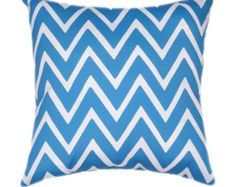 Blue and White Zig Zag Chevron Stripe Outdoor Pillow - Mill Creek Zapallar Caspian