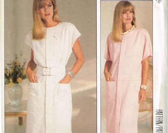 Straight Shift Dress Round Neckline McCalls 2911 Sewing Pattern Plus Size 12 14 16 Bust 34 36 38 Misses 1980s