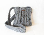 Cable Stitch Sling Purse in Pewter with Denim Lining, ready to ship.