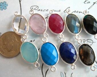 Sale - 5 10 pcs, Gemstone Connectors Links, Bezel Stone, Gold Vermeil or Sterling Silver, you pick colors, 21.5x11.5 mm, GCL20 gc ll