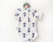Baby Sailor Onesie   Nautical Anchor Bodysuit   Baby Boy Sailor Outfit