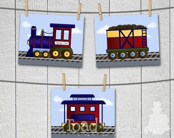 All Aboard the Express Train Boys Transportation Bedroom Baby Nursery 8 x 10 Wall ART PRINTS