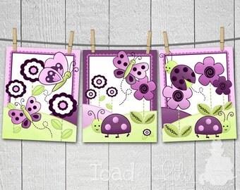 Set of 3 Plum Ladybug Girls Bedroom Baby Nursery 8x10 ART PRINTS