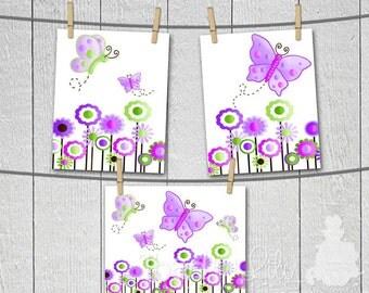 Set of 3 Lilac Butterfly Girls Bedroom Nursery 8 x 10 ART PRINTS