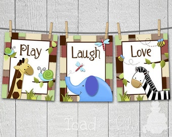 Set of 3 Quilted Jungle Creatures Animals Bedroom Nursery 8 x 10 Wall Art Prints