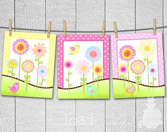 Set of 3 Sweet Meadow Birdies and Flowers Bedroom 8x10 Art Prints