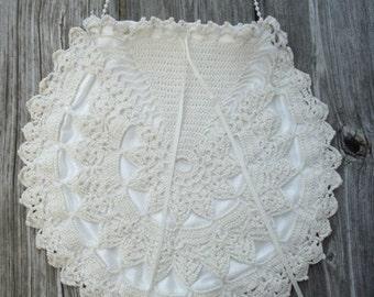 Drawstring Bag - Wedding Purse - Crochet Purse - Off White Pouch - Drawstring Purse - Bridal Bag - Bridal Purse - Bride Purse - Bride Bag