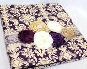 GUEST Book, Photo Spot, Wedding Guest Book, Advice Book, Plum and Gold Wedding, Dark Purple Damask, Ivory Lace, Pearls, Custom Colors