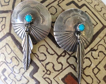 Vintage Sterling Silver Native American Concho Pierced Earrings | Navajo Turquoise Gem | Stamped Dangle Feathers | Southwestern Jewelry Boho