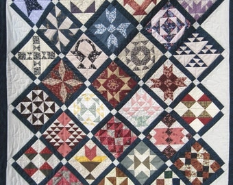 Quilted wall hanging sofa lap quilt patchwork Farmers Wife Sampler Quiltsy handmade