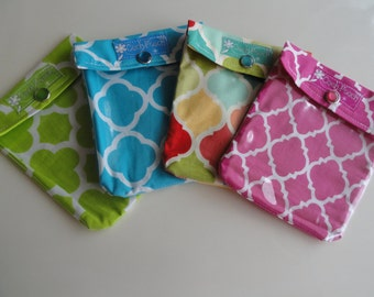 Ouch Pouch 4 Pack (Small 4x5 Your Choice Fabrics) Organizer First Aid Make Up Backpack Diaper Bag Purse Insert Gift Under 6