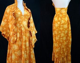 1970s Yellow Backless Halter Sun Dress Maxi Ruffle Boho Eyelet Floral Cotton with Shawl Small