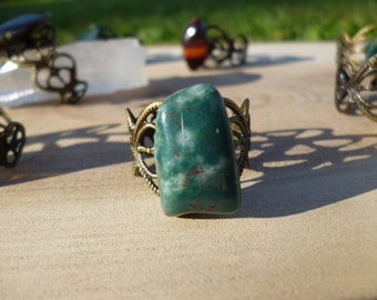 Bloodstone on Filigree Adjustable Brass/Bronze Antique Gold Ring