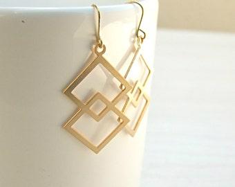 Gold Earrings, Bride Earrings, Bridesmaids Jewelry, Geometric Earrings,Hevron Dangle Earrings, dangle earrings