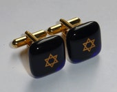 Star of David cufflinks - Fused glass - Gold on dark royal blue - Gold plated hardware