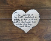 Heart dish, plate, wedding ring dish, scripture, goddaughter gift, christian gift, religious gift, bible verse, handmade earthenware pottery