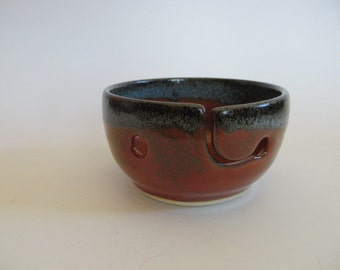 Yarn Bowl, Hand Made Stoneware Pottery in Blue and Orange-Red, Ceramic Yarn Bowl, Julie Knowles Pottery, Christmas Gift, Yarn Bowl No. 20