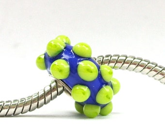 Blue and Green Big Hole Lampwork Glass Bead Blueberry and Kiwi fits ALL BHB Charm Bracelets