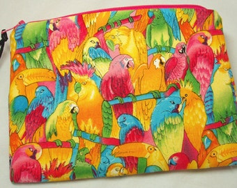 Zipper Cosmetic Gadget Pouch Coin Purse in Vibrant Parrot Collage Print