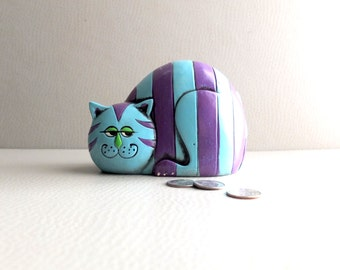 RESERVED - 1970s Piggy Bank - Purple Blue Grinning Cat - 70s Japan Export - Brady Bunch Chic - Collectible Coin Bank