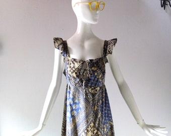 1970s Batik Block Print Sun Dress - Susan Richards of California - True Vintage Laurel Canyon Chic - Size SM MED 2 4 6 - Resort Collection